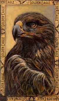 Ed Musante, Golden Eagle Mixed media on cigar box.