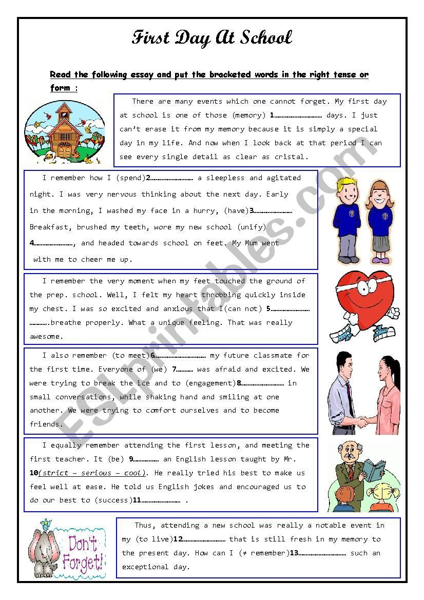 first day at school worksheet  education  school worksheets first  first day at school worksheet