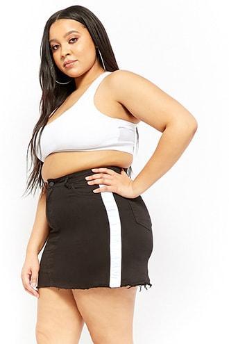 bf9d0ce5a19 Plus Size Denim Contrast Stripe Mini Skirt