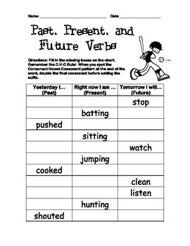 Verb Tenses/Inflected Endings Worksheet, Past, Present ...