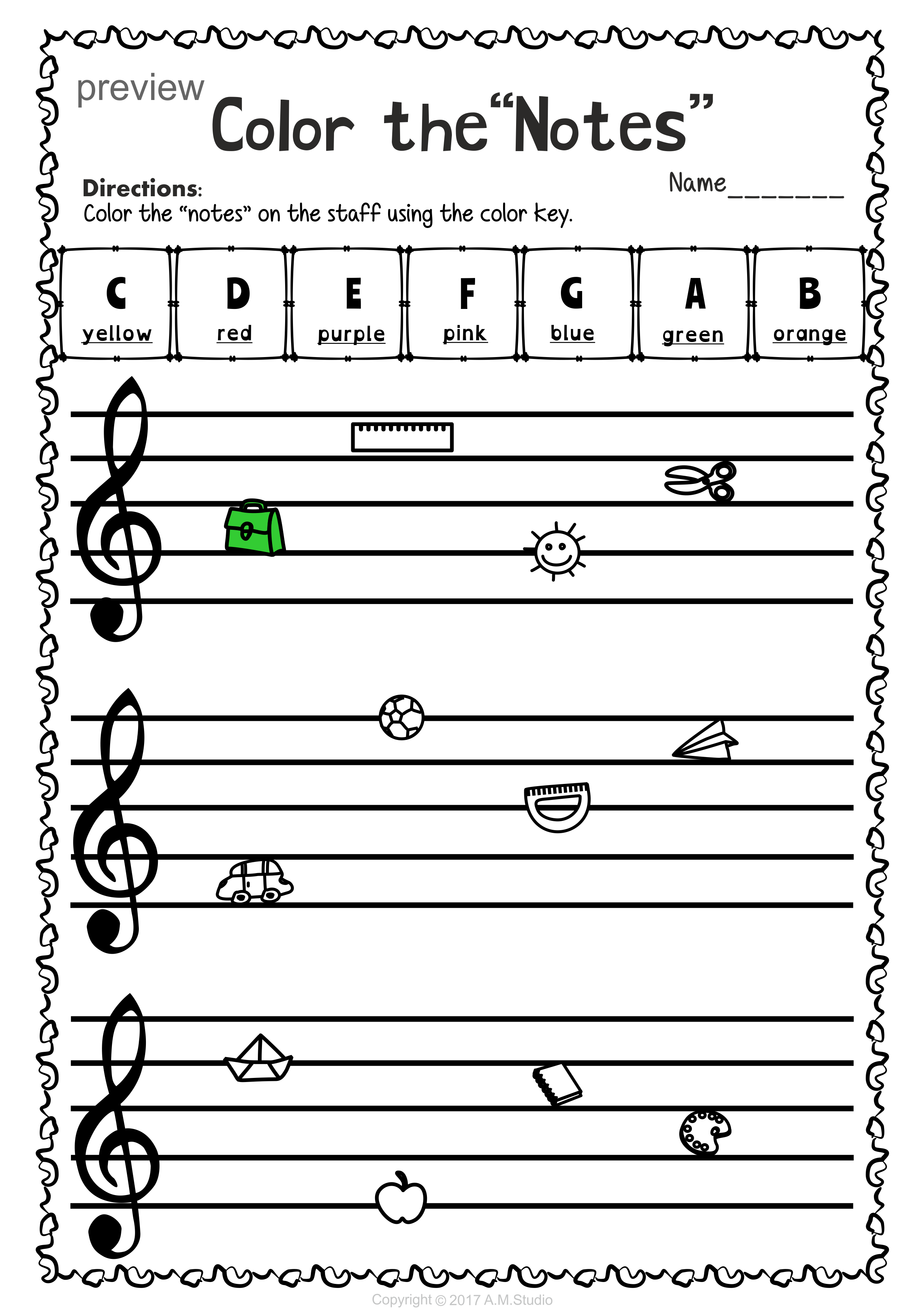 Back To School Treble Clef Note Naming Worksheets Treble Clef