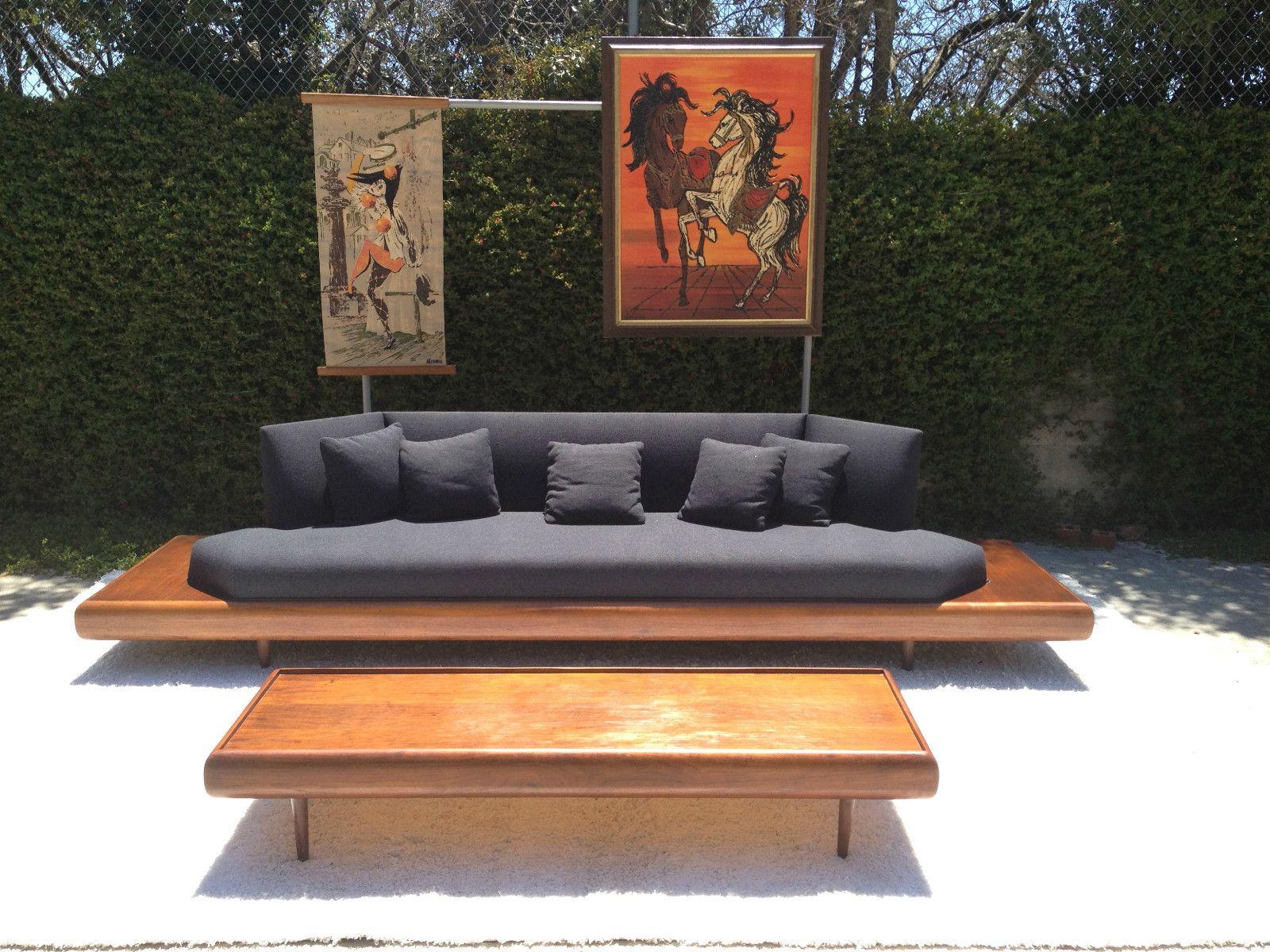 Mid Century Modern Adrian Pearsall Walnut Platform Sofa Couch