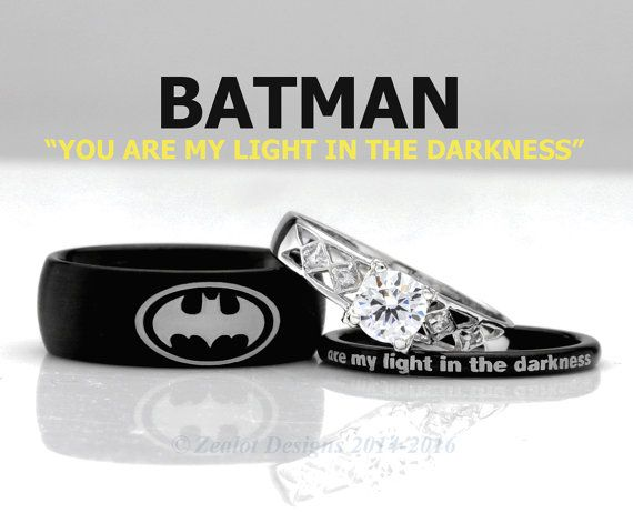 Batman His And Her S 3piece Silver Custom Engagement Set Tungsten Wedding Band Ring Mens Womens An Tungsten Wedding Bands Batman Wedding Batman Engagement Ring