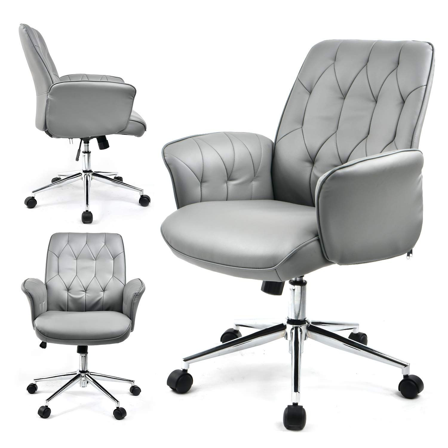 COMHOMA Modern Home Office Chair Vegan Leather Upholstered