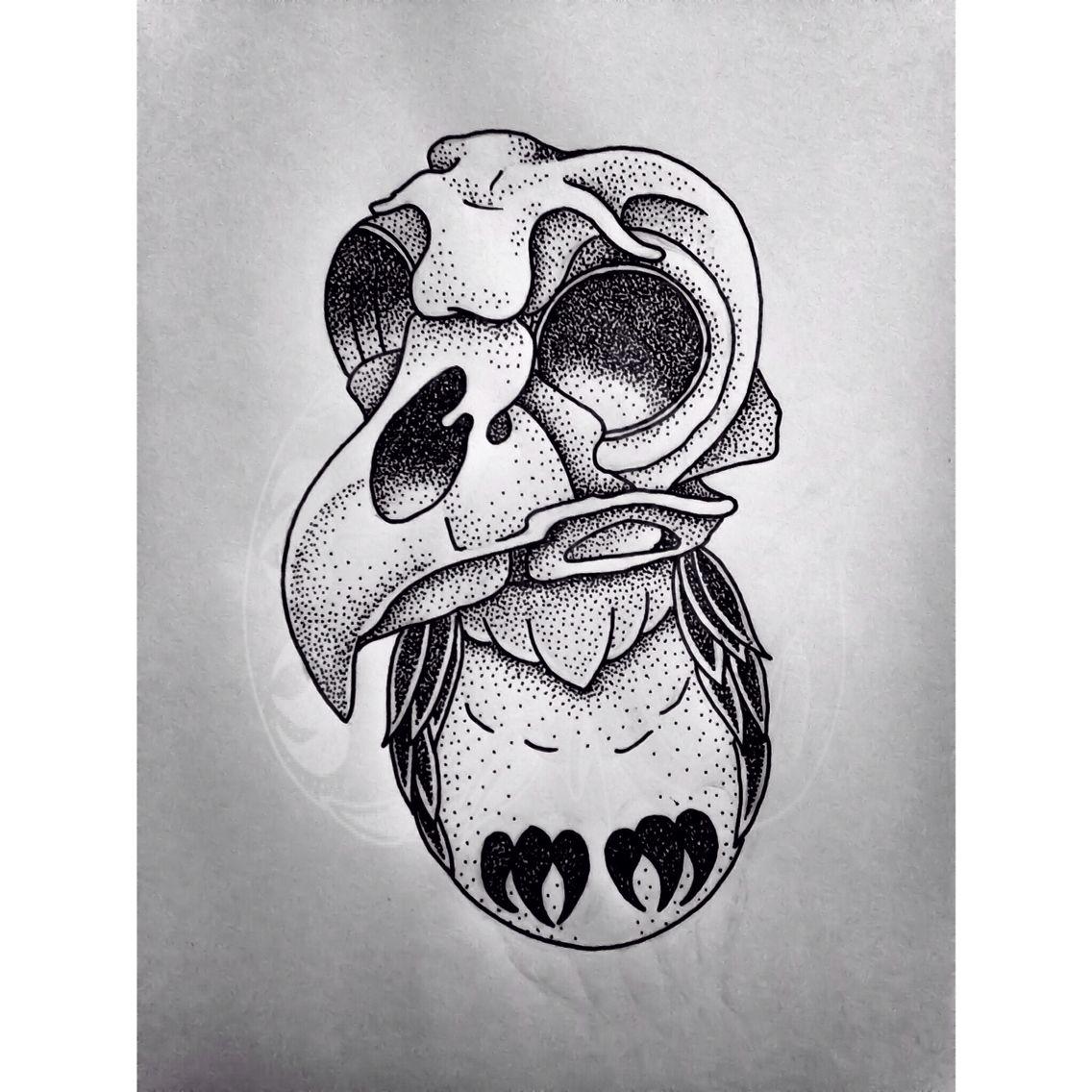 Skull owl, new school, tattoo design, drawing, dotwork ...