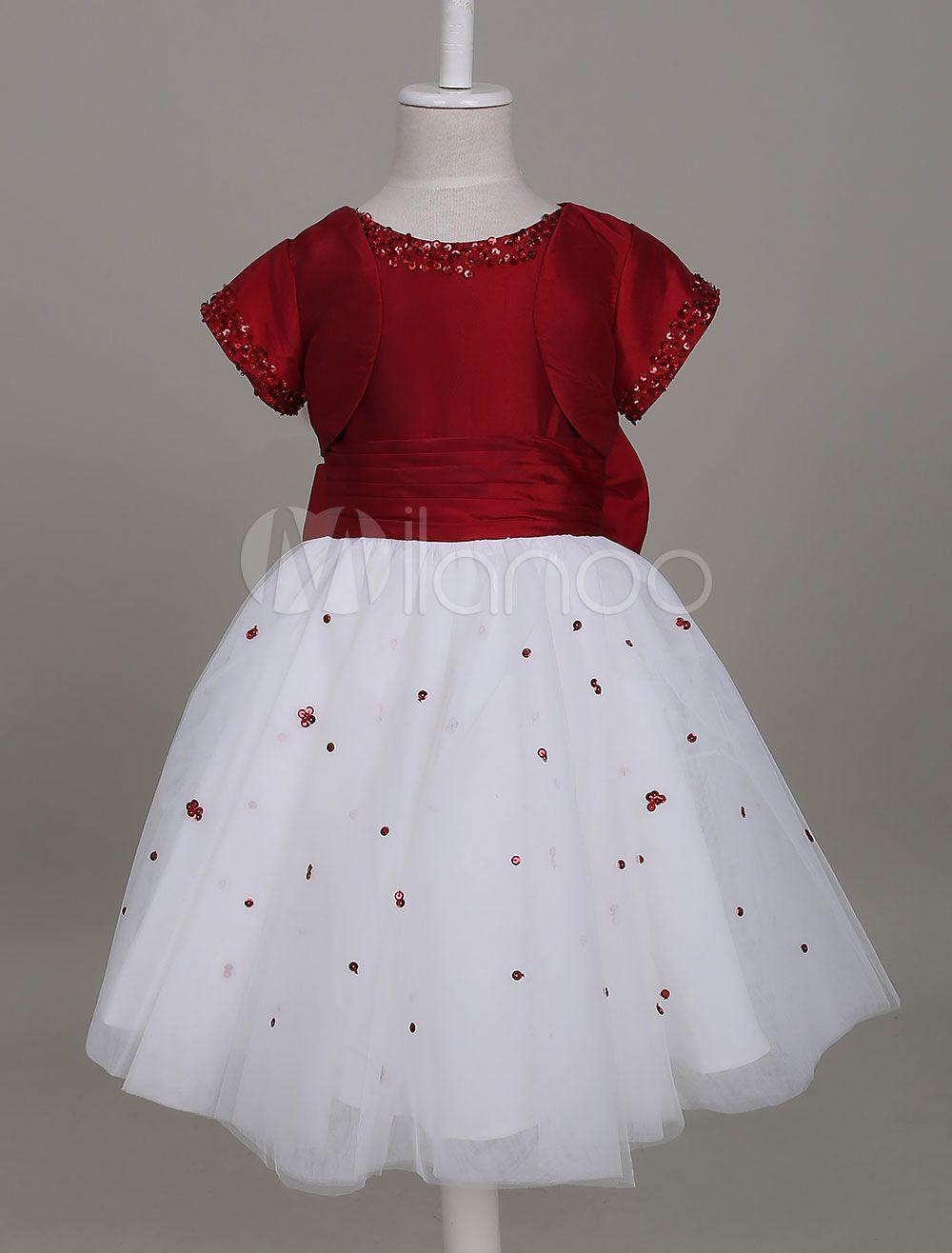 5738bcc39 Flower Girl Dresses Burgundy Tutu Dress Kids Short Sleeve Sequin Bow Knee  Length Formal Party Dresses For Girls #Dress, #Tutu, #Short