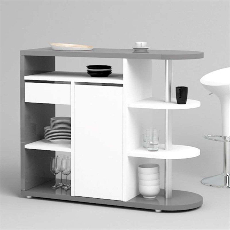 Fulton Home Bar In Grey And White High Gloss