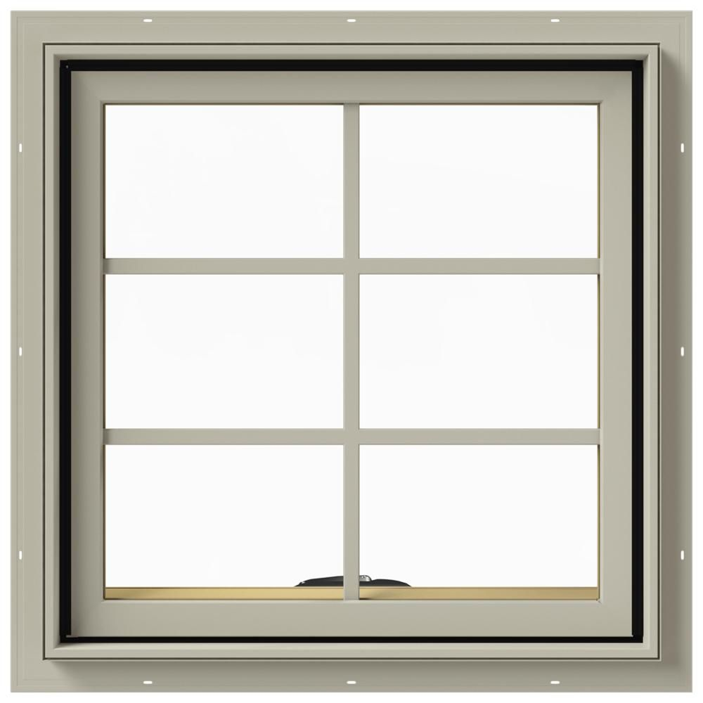 Jeld Wen 24 In X 24 In W 2500 Series Desert Sand Painted Clad Wood Awning Window W Natural Interior And Screen Clad Wood Window Design Window Awnings