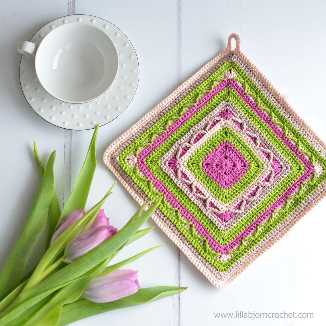 Crochet Potholders: art in small (FREE pattern) | Crochet gratis ...