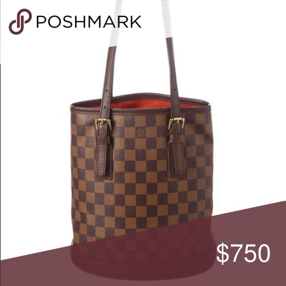 Preloved Louis Vuitton Damier Bucket Handbag Authentic Second Hand Purse No Dust Bag Box Purchased In Japan Louis Vuitton Louis Vuitton Damier Bucket Handbags
