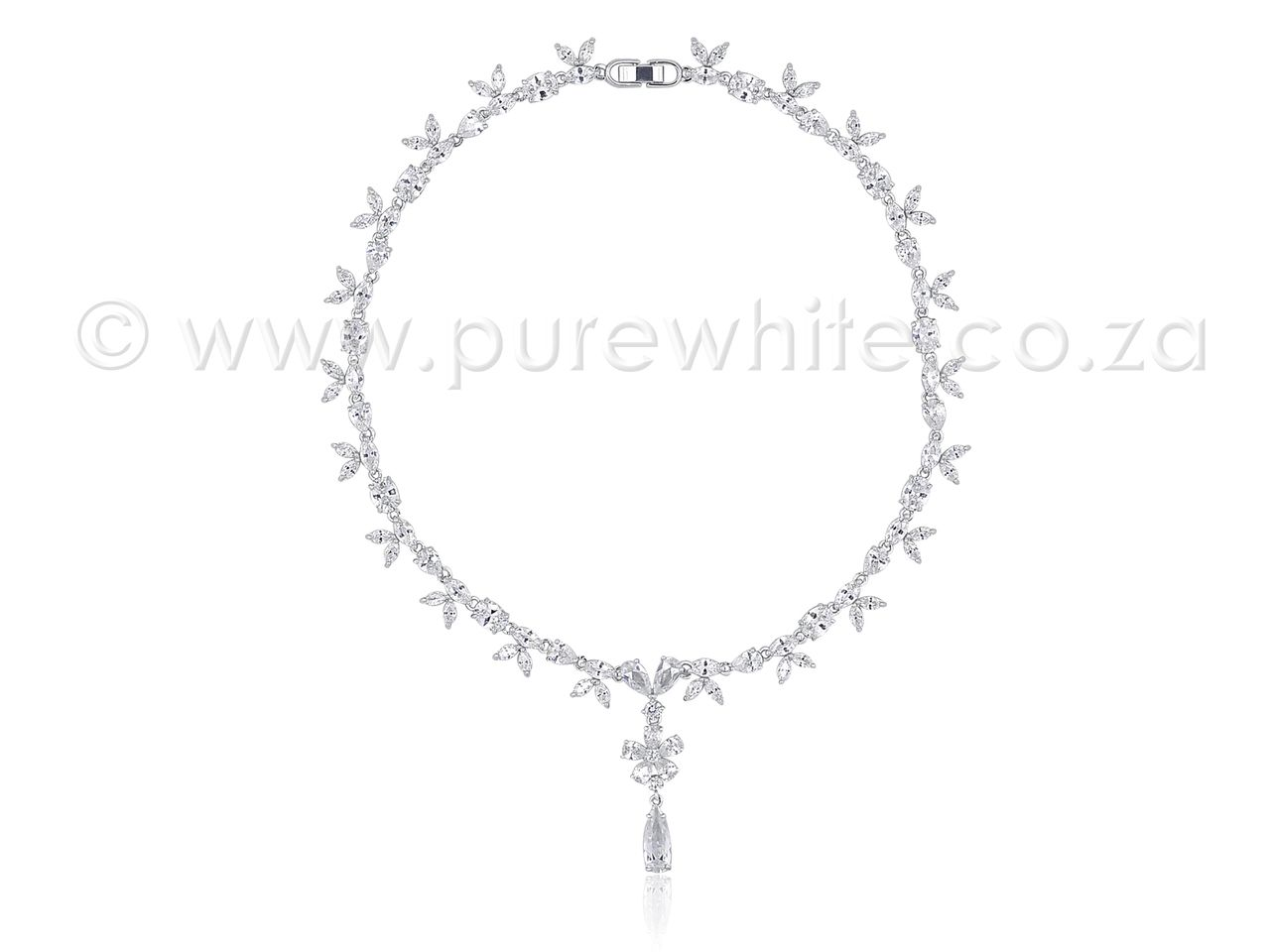 PURE WHITE - Feminine Cubic Zirconia Necklace 7-022, R2,229.01 (http://www.purewhite.co.za/feminine-cubic-zirconia-necklace-7-022/)