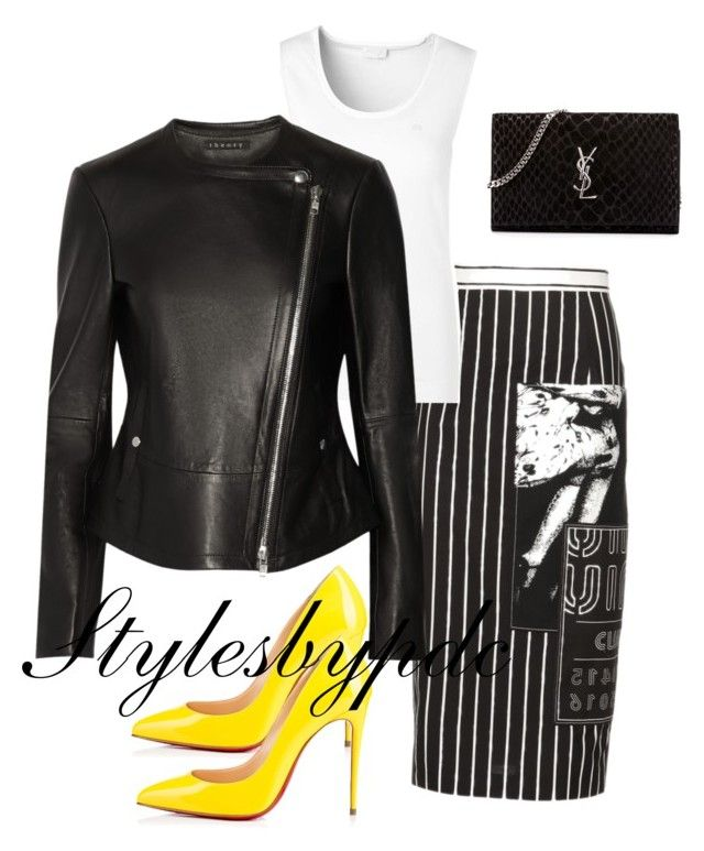 """""""Black White And Bold Yellow ✒️"""" by stylesbypdc ❤ liked on Polyvore featuring Miu Miu, ESCADA, Theory, Christian Louboutin and Yves Saint Laurent"""