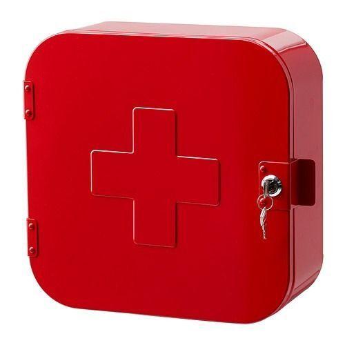 Ikea Gunnern Lock Box Cabinet With Door Bathroom Medicine Storage Red  Lifeguard