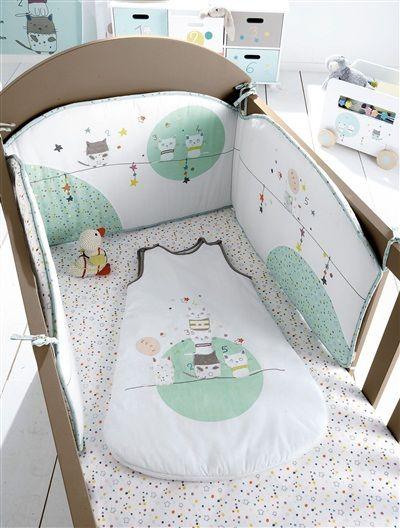 Tour de lit bébé brodé thème Chat perché MULTICOLORE ...