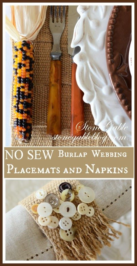 NO SEW THANKSGIVING SHOWCASE BURLAP WEBBING PLACEMAT AND NAPKIN AND $100.00 GIVEAWAY - StoneGable