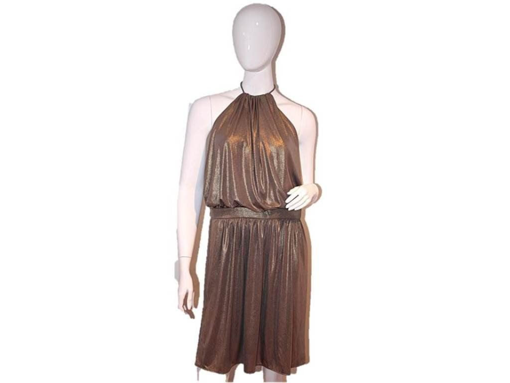 Tibi Women's Halter Tie Glitter Dress, Dark Gold, 8. Empire Waist. Open Back. 94% Polyester 6% Spandex.