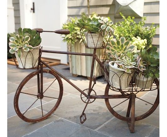 Bicycle Planter: Wrought Iron Is Formed Into The Shape Of A Vintage Bicycle,  Creating A Showcase For Plants. Looped Wire Baskets On The Handlebars, ...