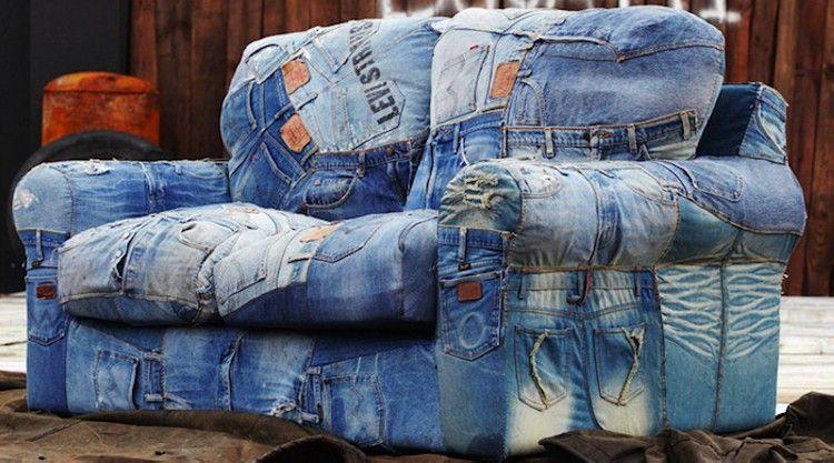 Recycled Denim Jeans Sofa Covers Denim Furniture Denim Sofa Denim Crafts