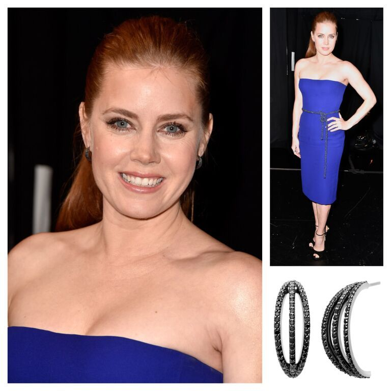 #AmyAdams wearing #MelissaKayeJewelry Veronica #earring in #18k black #gold with #diamonds #jewelry #finejewelry #blackgold #blackdiamonds #fashion #style #celebs #celebstyle #redcarpet