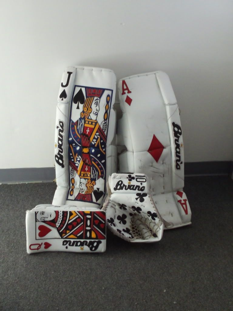 Brian's custom goalie pad set (Queen, Jack, Clubs and Ace of