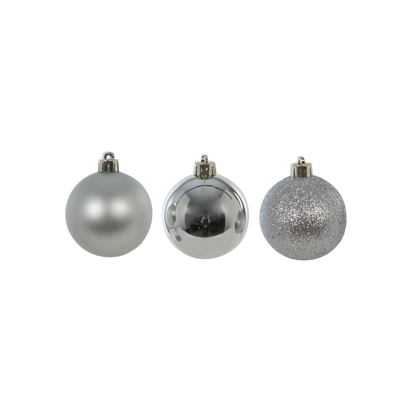 Silver Shatterproof Baubles 12 Pack Tree Decorations Asda Direct Shatterproof Silver Tree Decorations