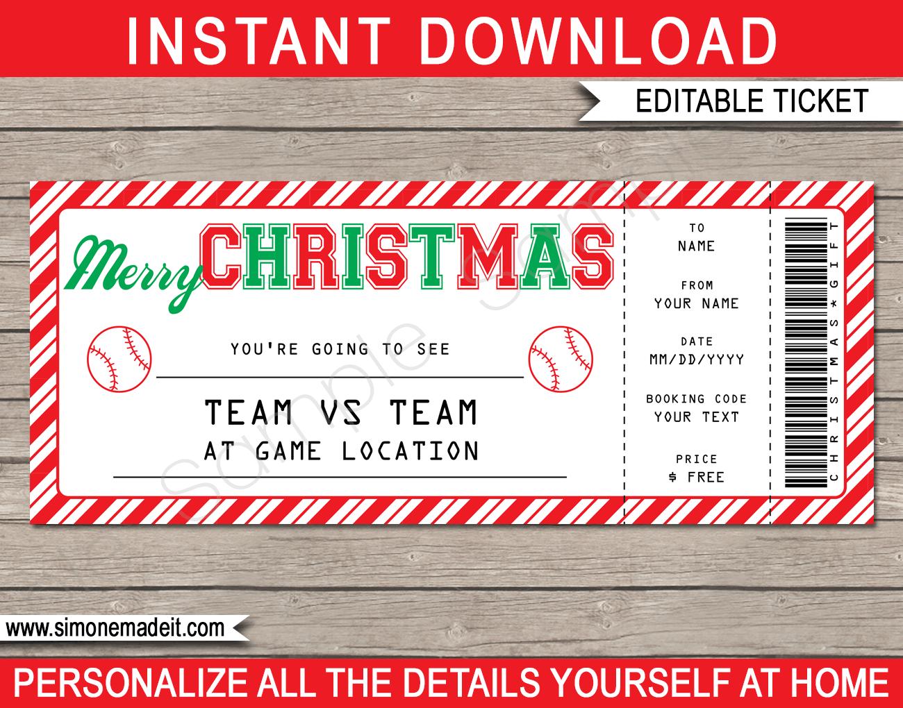 Christmas Baseball Ticket Gift Voucher Printable Baseball Ticket Template Baseball Ticket Gift Gift Labels Christmas Gift Certificate Template
