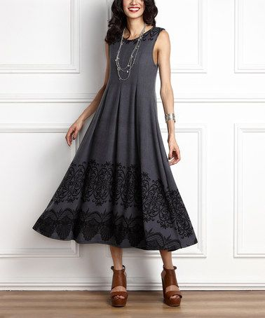 Another great find on #zulily! Charcoal Lace-Print Swing Midi Dress #zulilyfinds