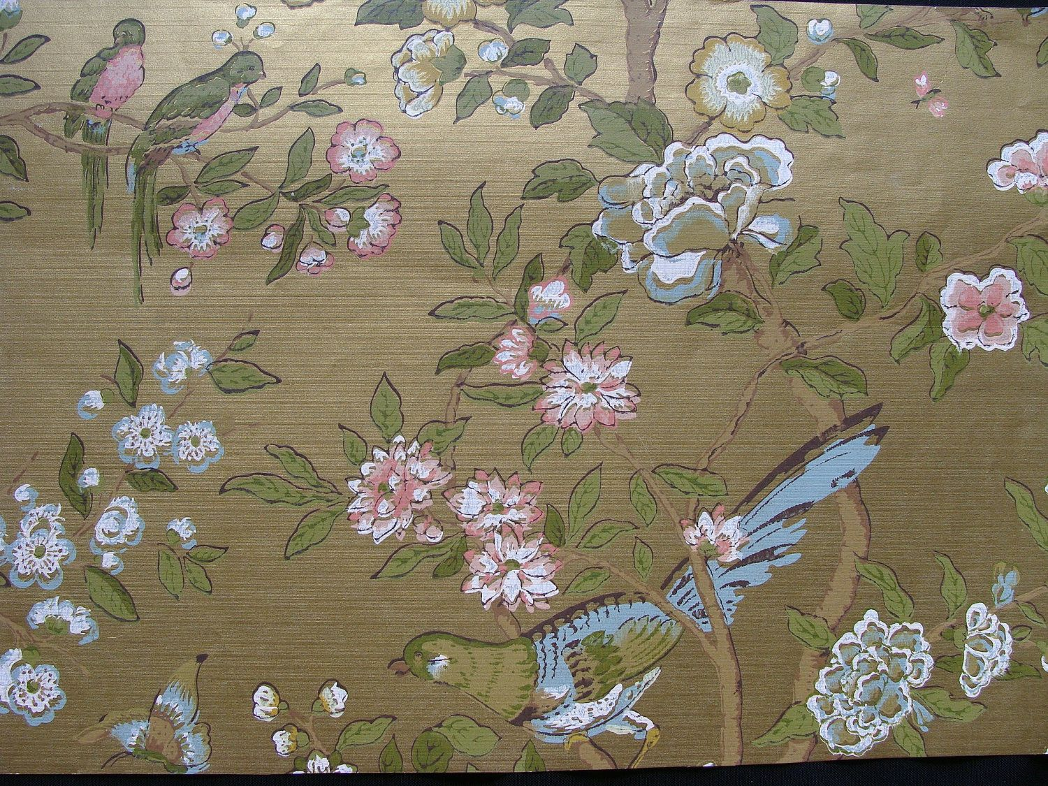 1940s Vintage Wallpaper Metallic Gold Blue and Pink