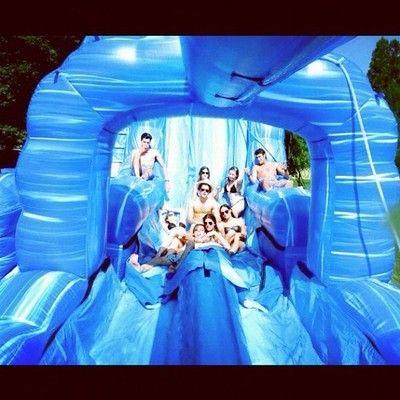 Casual 100 foot water slide in the backyard. #hamptons #summer #crew by j_moshy