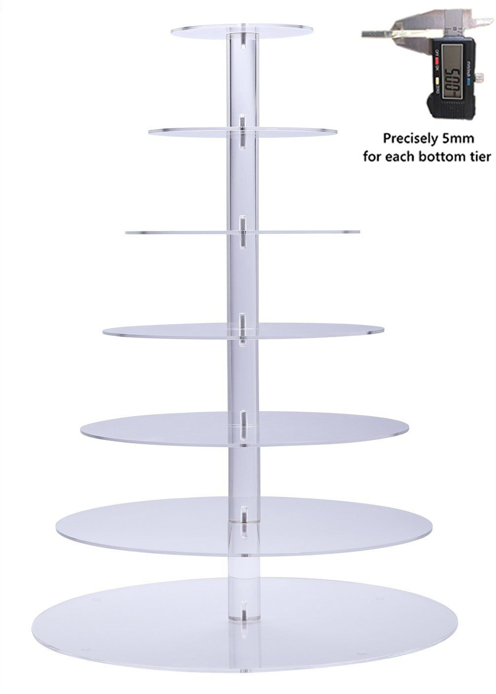 Bonnoces premium seven tier crystal clear acrylic glass round