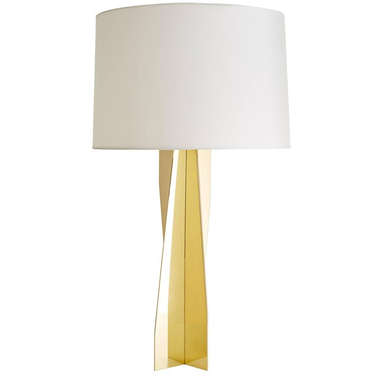 Photo of James Devlin Brass, Silk Folded Origami Modern American Table Lamp