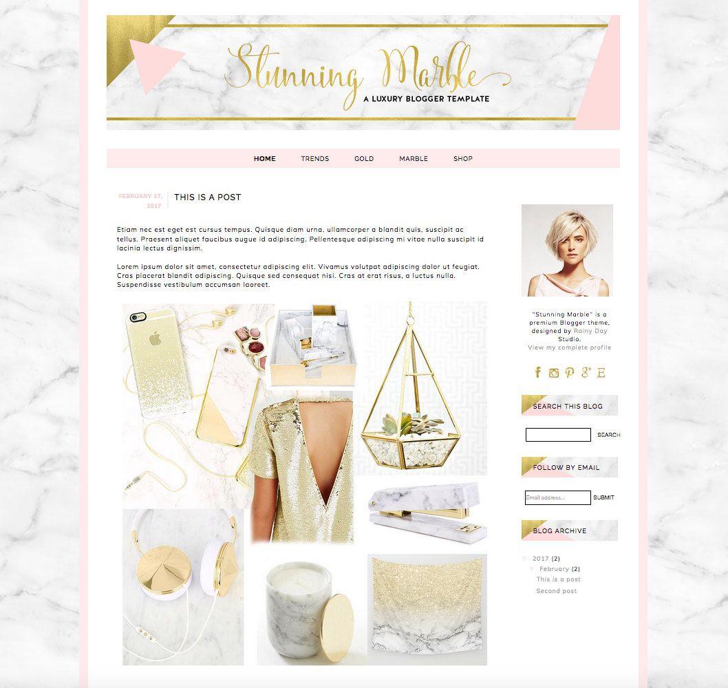 Plantilla premium para Blogger con texturas de marmol y oro y en ...