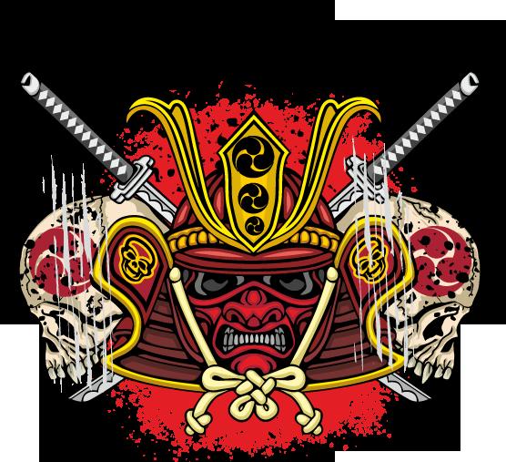 Japanese Samurai Mask With A Skull And Swords Grunge Vintage Design T Shirts Samurai Vector Art Art Images