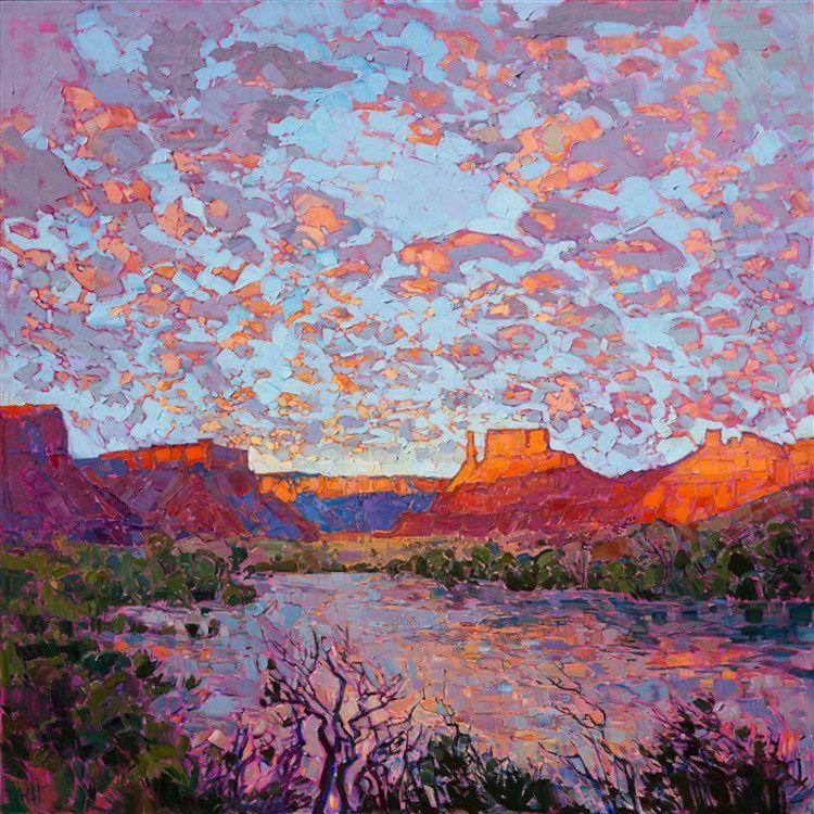 Vibrant Landscape Paintings Use The Color Orange To Capture The Warm Glow Of The American West Landscape Paintings Fine Art Prints Artists Expressionist Landscape
