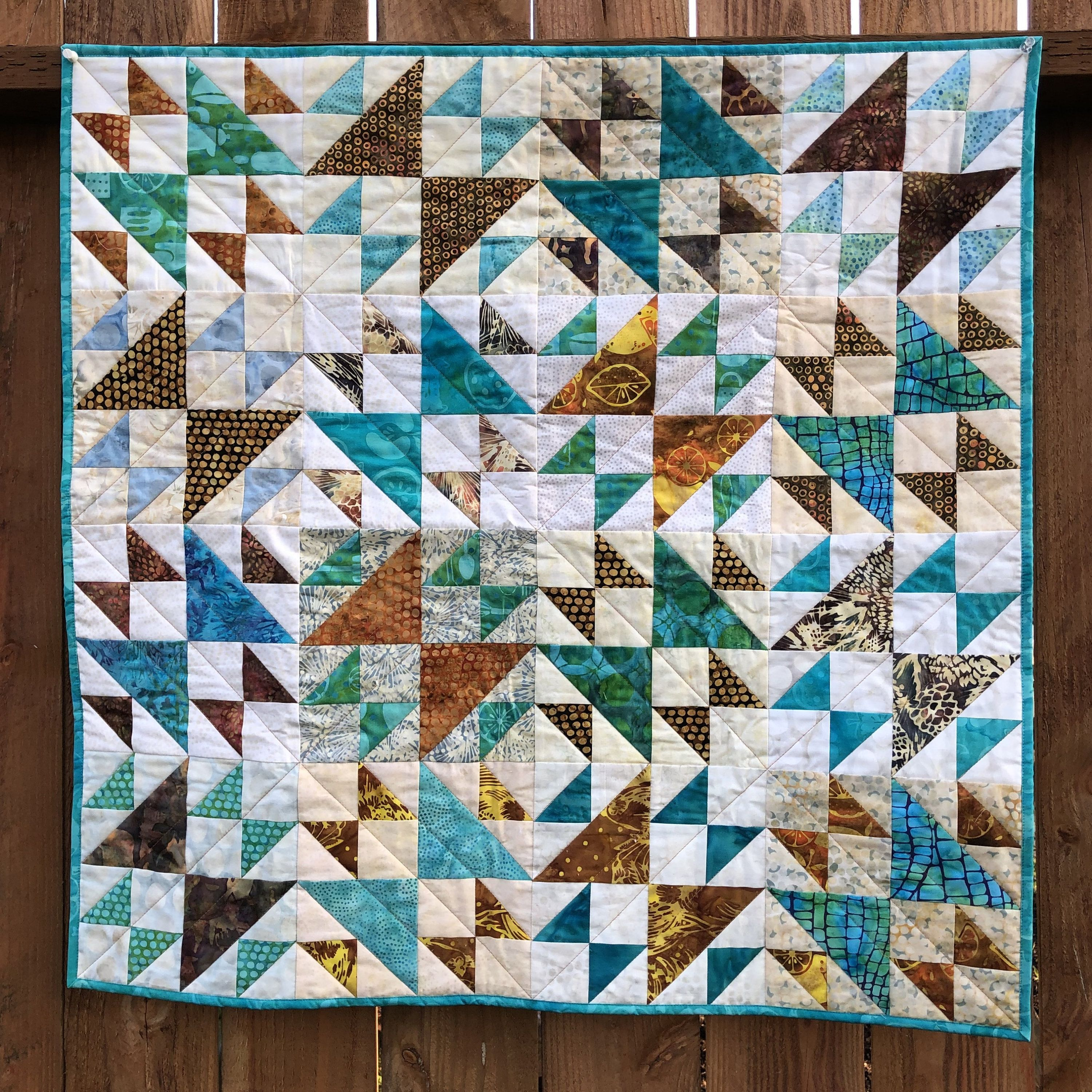 Teal And Brown Traditional Quilt For Sale, Small
