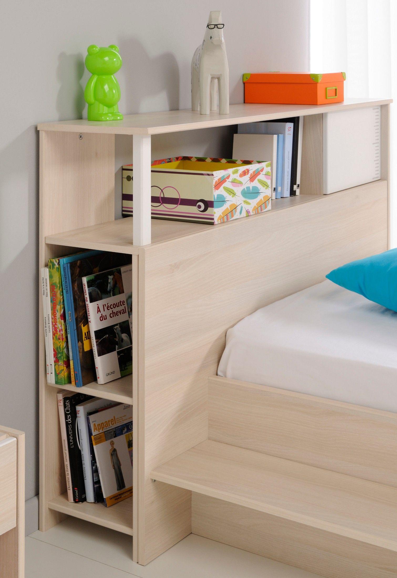 Environnement de lit enfant en bois blanc et acacia - Solution rangement chambre ...