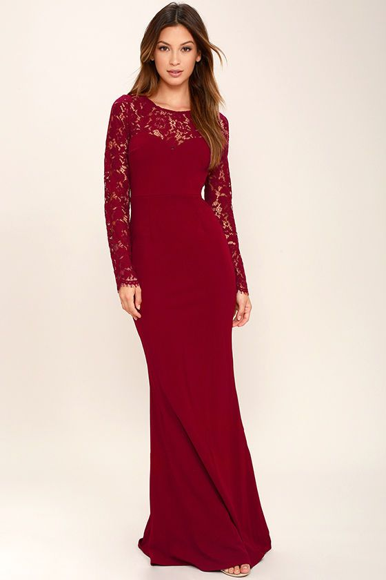 Whenever You Call Wine Red Lace Maxi Dress in 2018 | Ideas on what ...