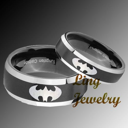 His Her S Tungsten Black Two Tone Batman Ring Set Sz 4 14 Batman Ring Batman Wedding Batman Wedding Rings