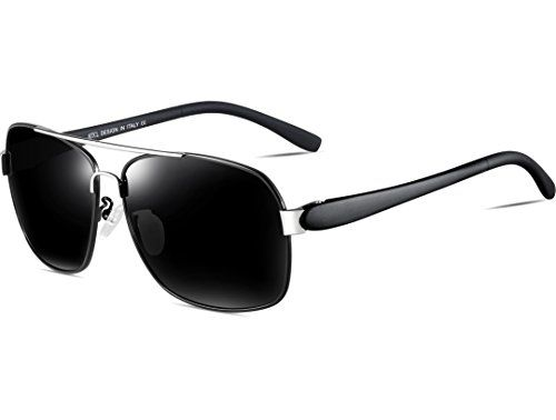 8b359f9cfb ATTCL Men s 2017 100% UV Protection Polarized Aviator Sunglasses  Rectangular for Men Driving Fishing Golf 8001-Black     Read more at the  image link.