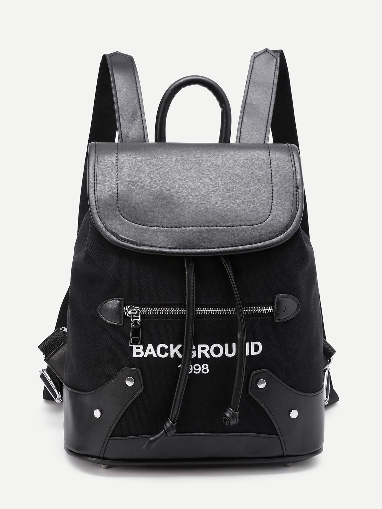 524b242e85445 Letter Print Drawstring Flap Backpack -SheIn(Sheinside) | Utility ...
