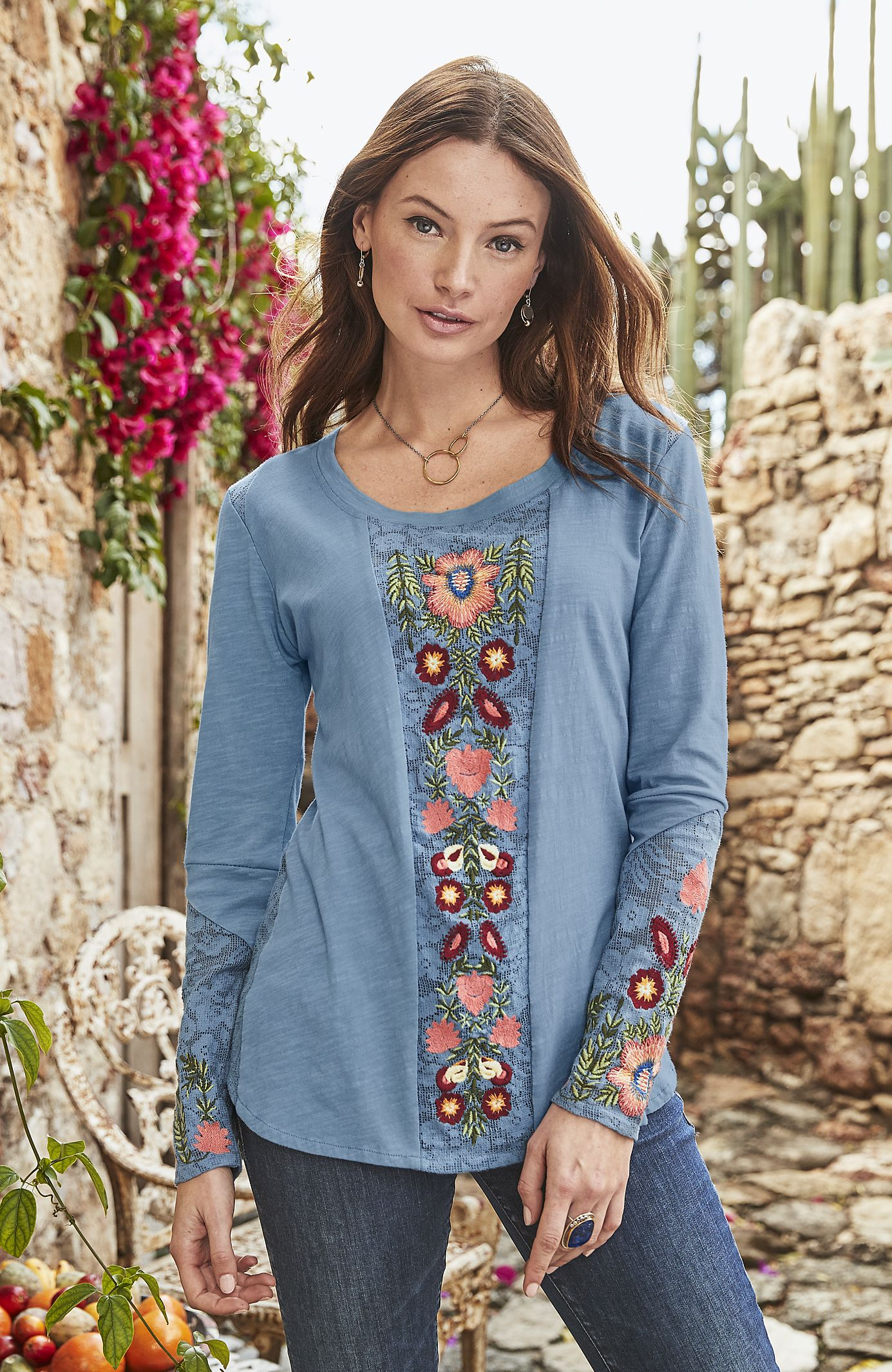 Flowers for abigail tee scoop neck floral tee shirt