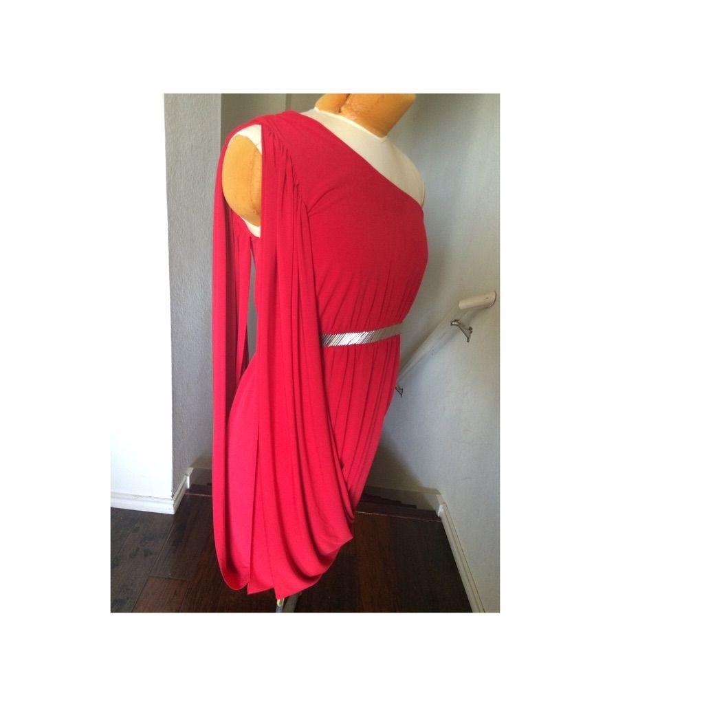 Dillardus red formal draping one shoulder dress shoulder dress