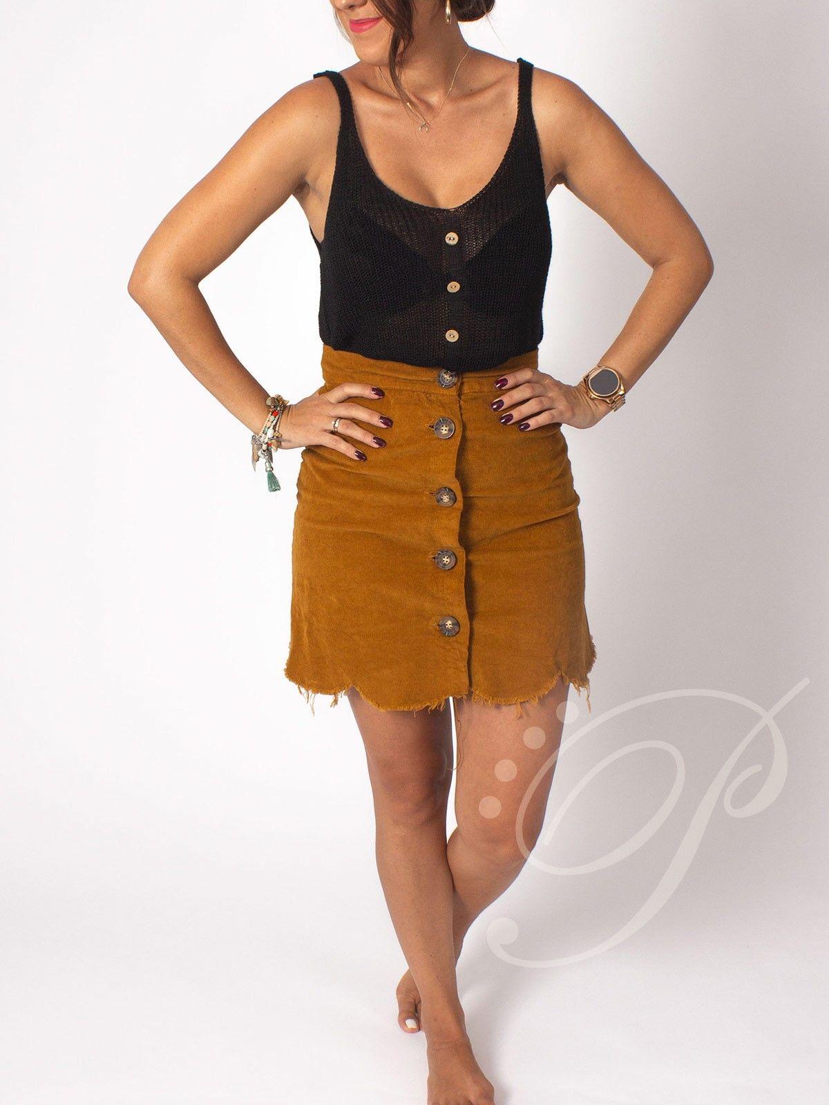 4282717cc Falda Pana Mostaza | outfit | Faldas, Faldas marrones y Moda