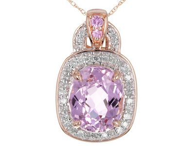 Don't mind if we do...This kunzite pendant just moved to the top of our wishlist! | 3.75ct Oval Pink Kunzite, .05ctw Pink Sapphire,.23ctw White Diamond 10k Rose Gold Pendant With Chain