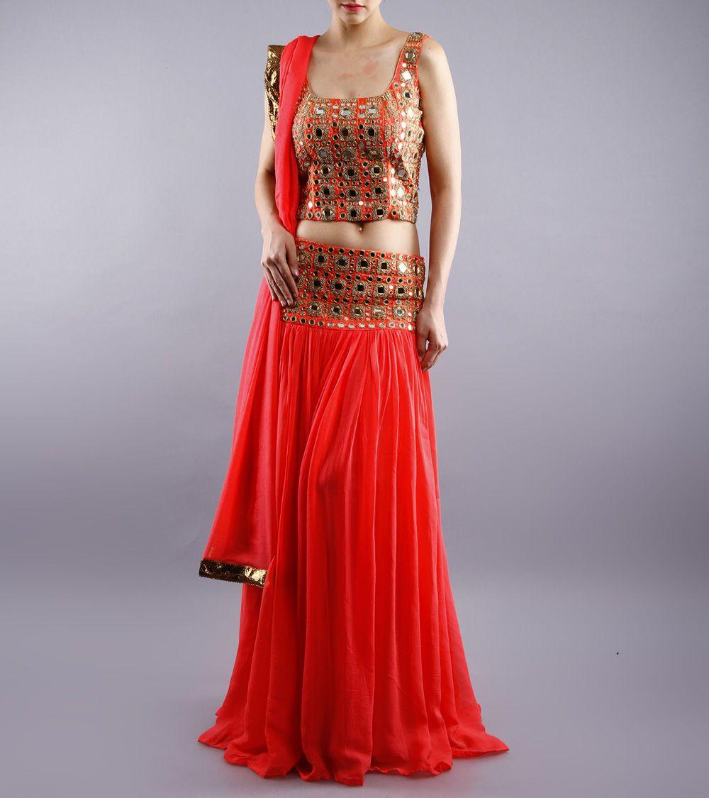 Lehenga blouse design in golden color and mirror work - Blouse Designs Orange Peach Chiffon Silk Lehenga Set With Mirror Work