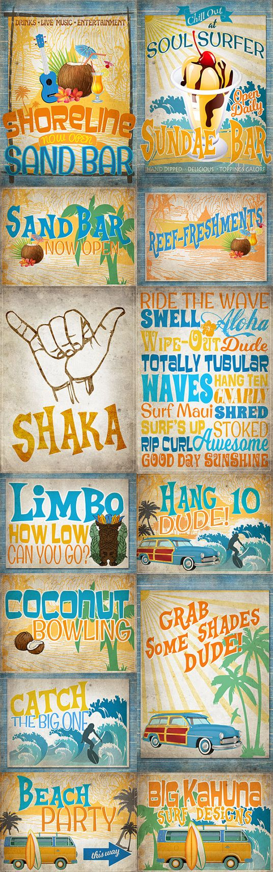 14 Vintage Surf Party Posters/Signs - INSTANT DOWNLOAD - Printable ...