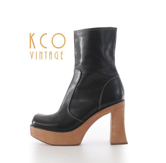90edb6e1bb5 1990s vintage black leather Steve Madden platform above ankle boot with  interior side zipper