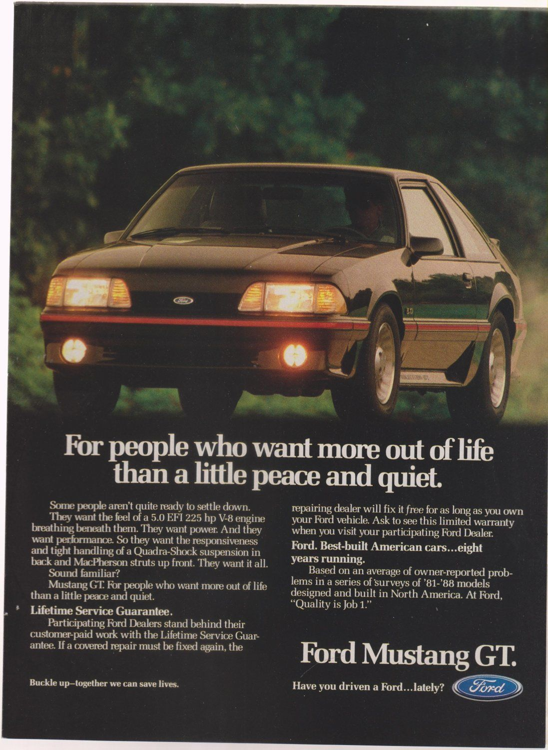 Vintage Ford Mustang Gt Magazine Advertisement Ford Mustang
