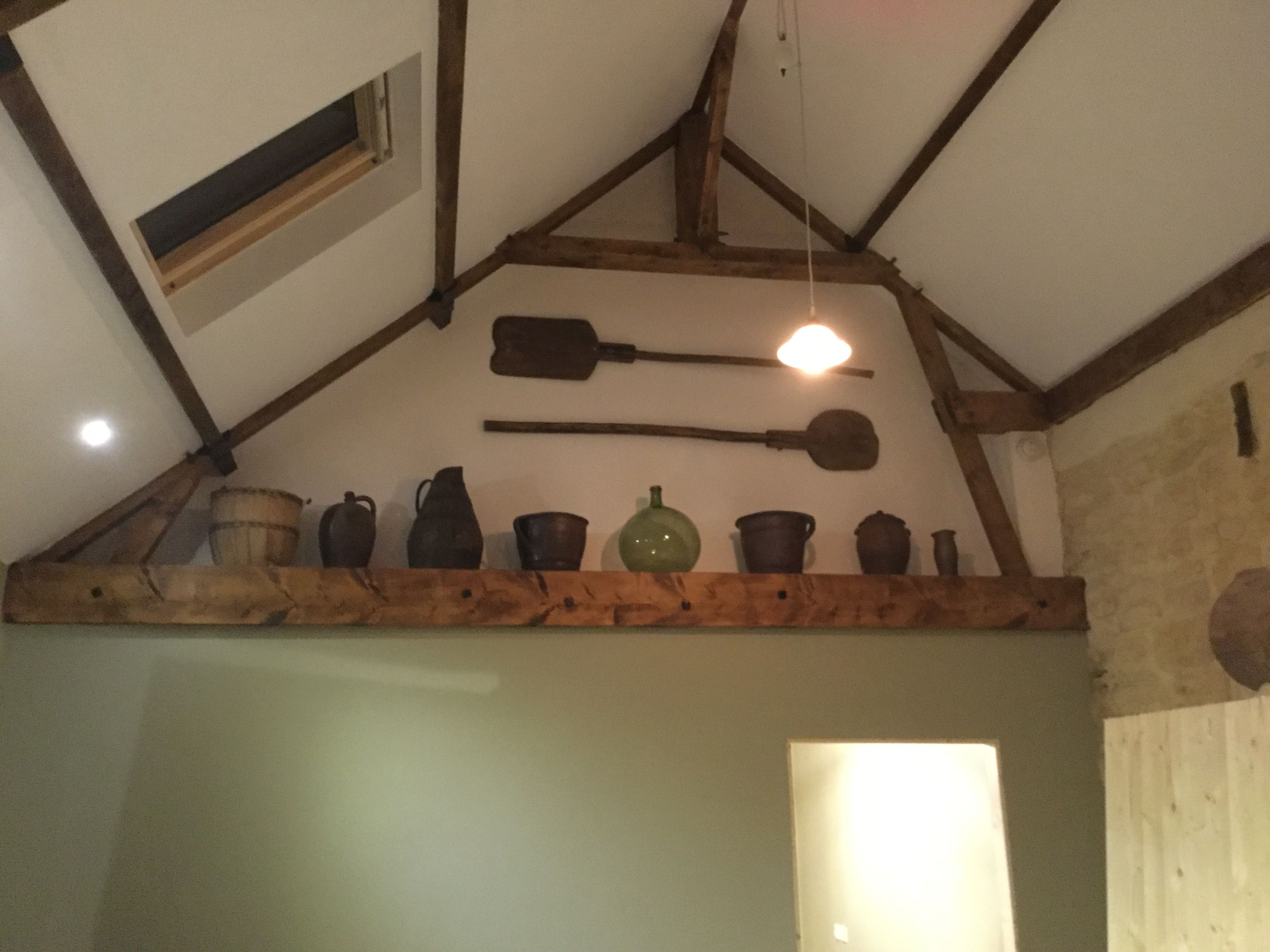 Kitchen ceiling painted and our old bakery finds