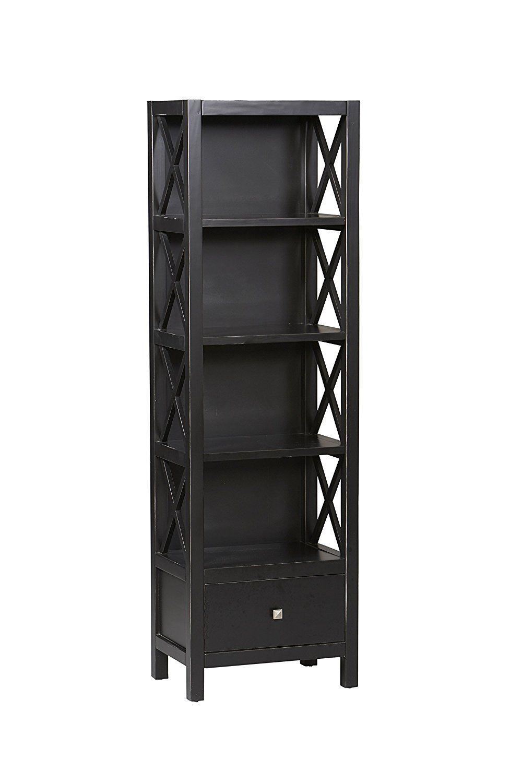 c182d4e174b Amazon.com  Linon Anna Collection Tall Narrow 5-Shelf Bookcase  Kitchen    Dining